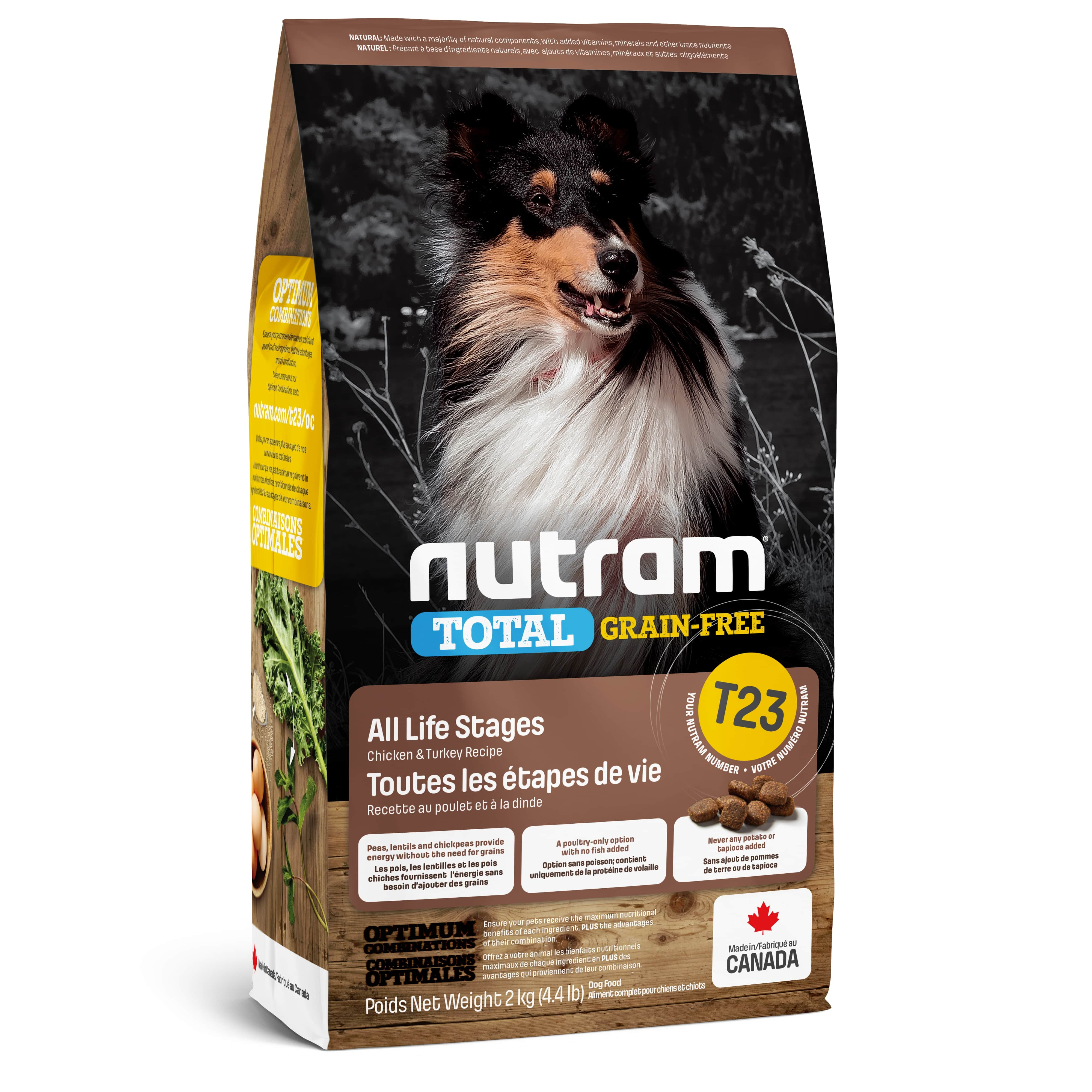 T23 Nutram Total Grain-Free Turkey, Chiken & Duck Dog Food Для всех жизненных стадий с индейкой и ку